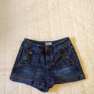 Short dark wash jean shorts